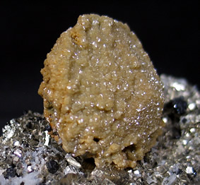 Siderite ps Calcite on Pyrite, Sphalerite and Quartz, Turt Mine, Oasului Mts., Satu Mare, Maramures Co., Romania