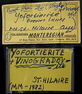 Yofortierite (TL) and Vinogradovite, Mont Saint-Hilaire, Québec, Canada ex Ron Waddell